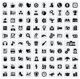 100 web icons. Vector black 100 web icons set on gray Royalty Free Stock Images