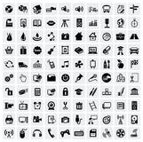 100 web icons. Vector black 100 web icons set on gray Stock Images