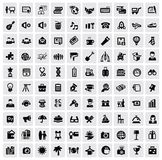 100 web icons. Vector black 100 web icons set on gray Stock Photo