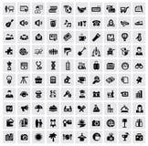 100 web icons. Vector black 100 web icons set on gray royalty free illustration