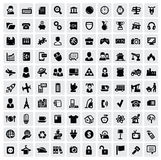 100 web icons. Vector black 100 web icons set on gray Royalty Free Stock Photos