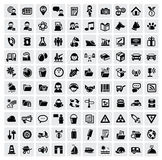 100 web icons. Vector black 100 web icons set on gray Royalty Free Stock Photography