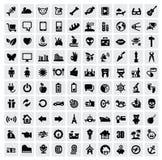 100 web icons. Vector black 100 web icons set on gray Stock Photo