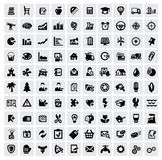100 web icons. Vector black 100 web icons set on gray Stock Photos