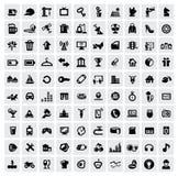 100 web icons. Vector black 100 web icons set on gray stock illustration