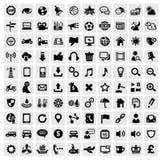100 web icons. Vector black 100 web icons set on gray Stock Image