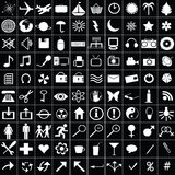 100 white icons Stock Photo