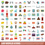 100 World Icons Set, Flat Style Stock Images