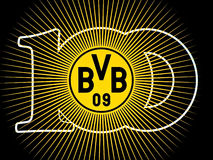100 Years BVB 09. Borussia Dortmund: Badge of the 100 years anniversary (1909-2009) of the German Football Club. German League Champions  2011 and 2012 Royalty Free Stock Images