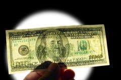 100 znak wodny dolarów Fotografia Royalty Free