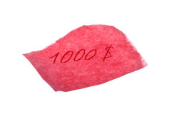 $1000. A piece of pink paper with a $1000 written in red for an IOU Stock Photos
