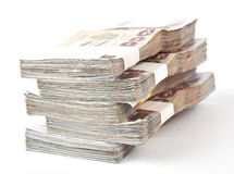 1000 geïsoleerdeg Bahtbankbiljetten. Stock Afbeeldingen