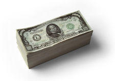 $1000 Gestapelde rekeningen - Stock Afbeeldingen