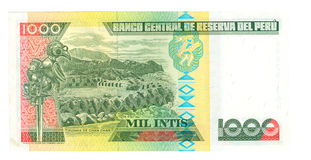 1000 inti bill of Peru, 1988 Royalty Free Stock Image