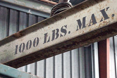1000 lbs Max. Beam at construction site Royalty Free Stock Photos