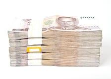 1000 notas de banco do baht isoladas. foto de stock