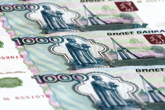 1000 ruble bills. Close-up Royalty Free Stock Photos