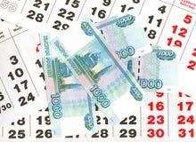 1000 rubles och kalendern täcker. Fotografering för Bildbyråer
