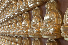10000 Buddha dorato in tempiale cinese Immagini Stock Libere da Diritti
