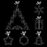 100Collection of Christmas items. Collection of Christmas openwork elements on a black background vector illustration