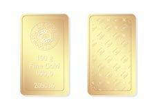 100g minted gold bar. Gold bar for investment use vector illustration