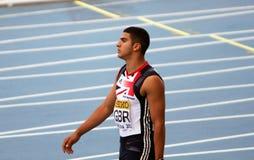 100米的英国赢利地区的亚当Gemili 免版税图库摄影