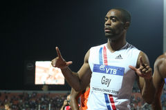 100m 2009年竞技最终快乐精神tyson世界 免版税库存照片