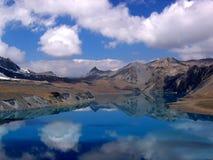 100m 5个湖尼泊尔tilicho 图库摄影