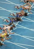 100m konkurrentkvinnor Royaltyfri Bild