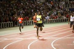 100m värld för usain för 2009 mens för friidrottbult sista Arkivbilder