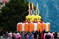 100th Anniversary. This is the huge (mock) birthday cake for the 100th Anniversary of Granvia, the central and typical street (a kind oh High Street) in Madrid Royalty Free Stock Image