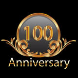 100th years anniversary. In gold Stock Image