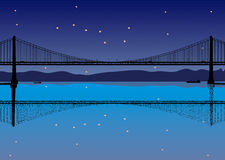 101. Illustration of the silhouettes and reflection of bridge, ships, stars over night sky background Royalty Free Stock Images