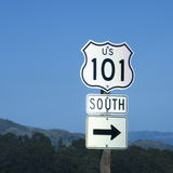 101 South to the right. Direction sign to 101 Highway Royalty Free Stock Photo