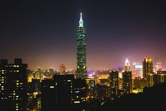 101 Tower, Taipei, Taiwan at night  Royalty Free Stock Image