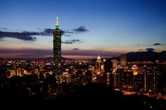 101 Tower, Taipei, Taiwan at night Stock Photo