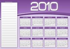 1010个日历紫色 库存照片