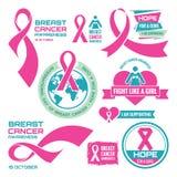 天10月19日-国际乳腺癌-被设置的创造性的传染媒介徽章 乳腺癌了悟 对治疗的希望 图库摄影