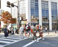 京都- 10月22 : Jidai的Matsuri参与者 库存图片