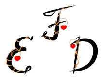 1030 Decorated alphabet. Letters decorated with twig and heart against the white background Stock Image