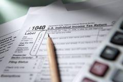 1040 de vorm van de belasting Stock Afbeeldingen