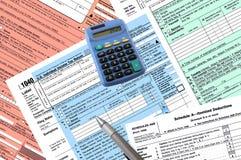 1040 formes de déclaration d'impôt Photo stock