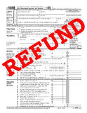 1040 refund. 1040 Tax Form with caption REFUND Stock Illustration