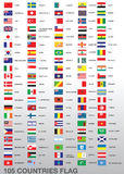105 Country Flags. A set of flags of 105 different countries isolated on a background stock illustration