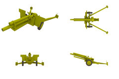 105 MM Howitzer Artillery Field Gun. Four views of a WW2 105 MM howitzer artillery field gun royalty free illustration