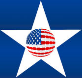 106. Vector Illustration of sphere Design American Flag into star over blue Background stock illustration