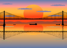 107. Illustration of the silhouettes and reflection of bridge and ships over sunrise background stock illustration