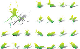 10a ustawiający ikona duży insekty Obraz Stock