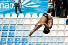 10m platform dat bij het Kampioenschap van de Wereld duikt FINA Royalty-vrije Stock Afbeeldingen
