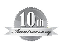 10th anniversary seal illustration design. On white Stock Images